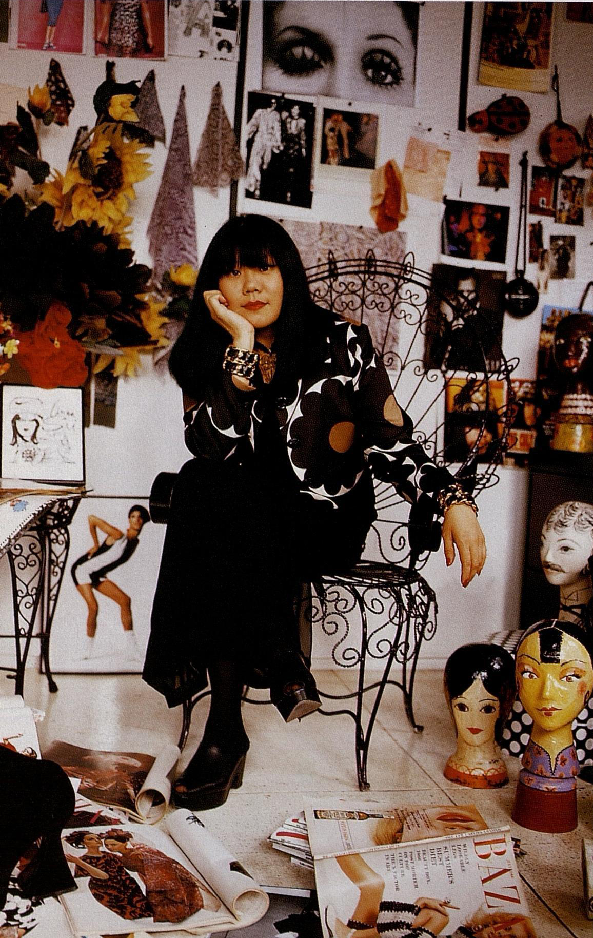 Anna Sui in her office. Photographed by Jesse Frohman for Harper's Bazaar, September 1992.
