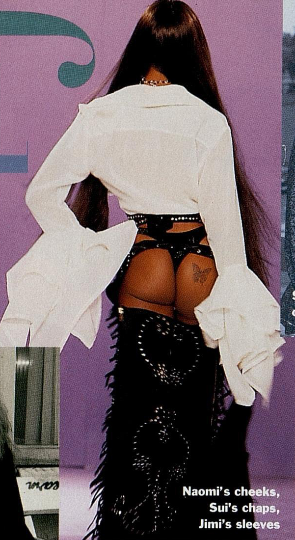 Naomi Campbell modeling ass-less chaps in Sui's fall/winter 1992 collection.