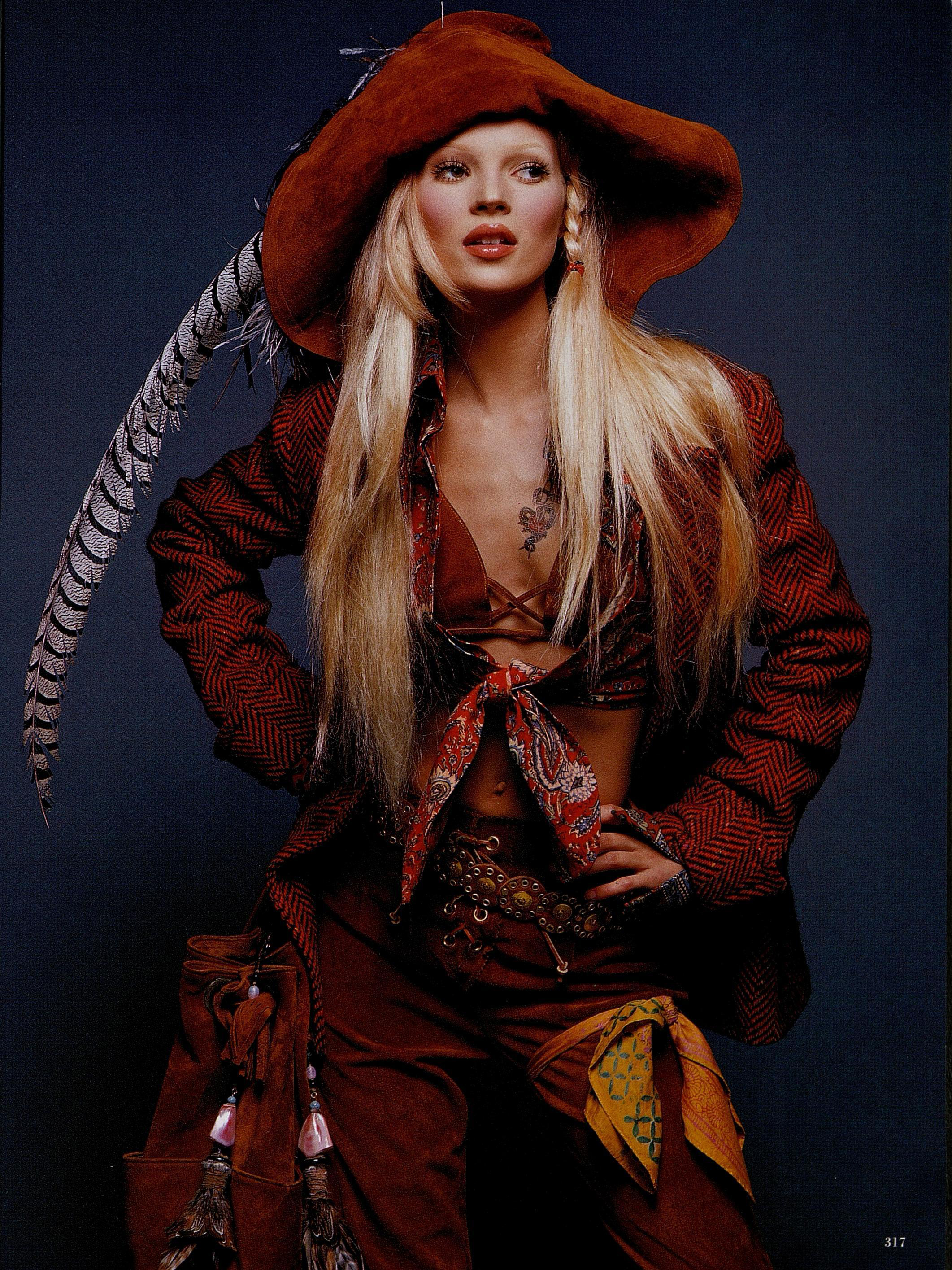 Kate Moss in Sui's pirate f/w '92 collection. Photographed by Patrick Demarchelier for Harper's Bazaar, September 1992.