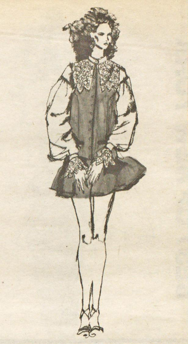 A design by Sui, illustrated by Steven Meisel for WWD, April 20, 1981.
