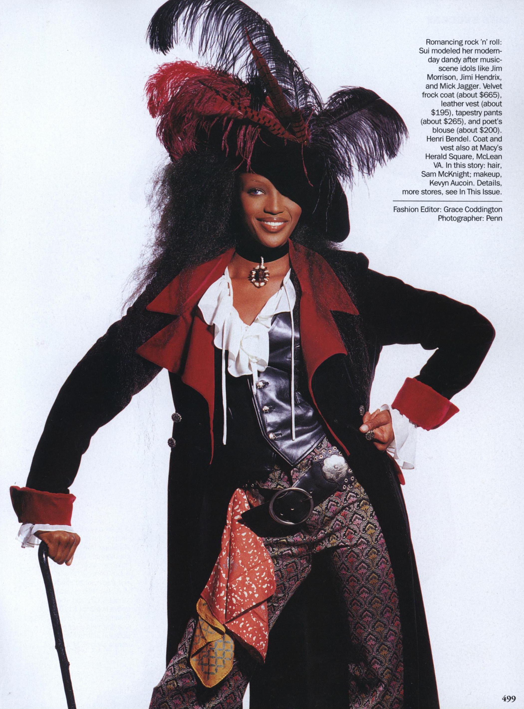 Sui does pirate-style. Naomi Campbell photographed by Irving Penn for Vogue, September 1992.