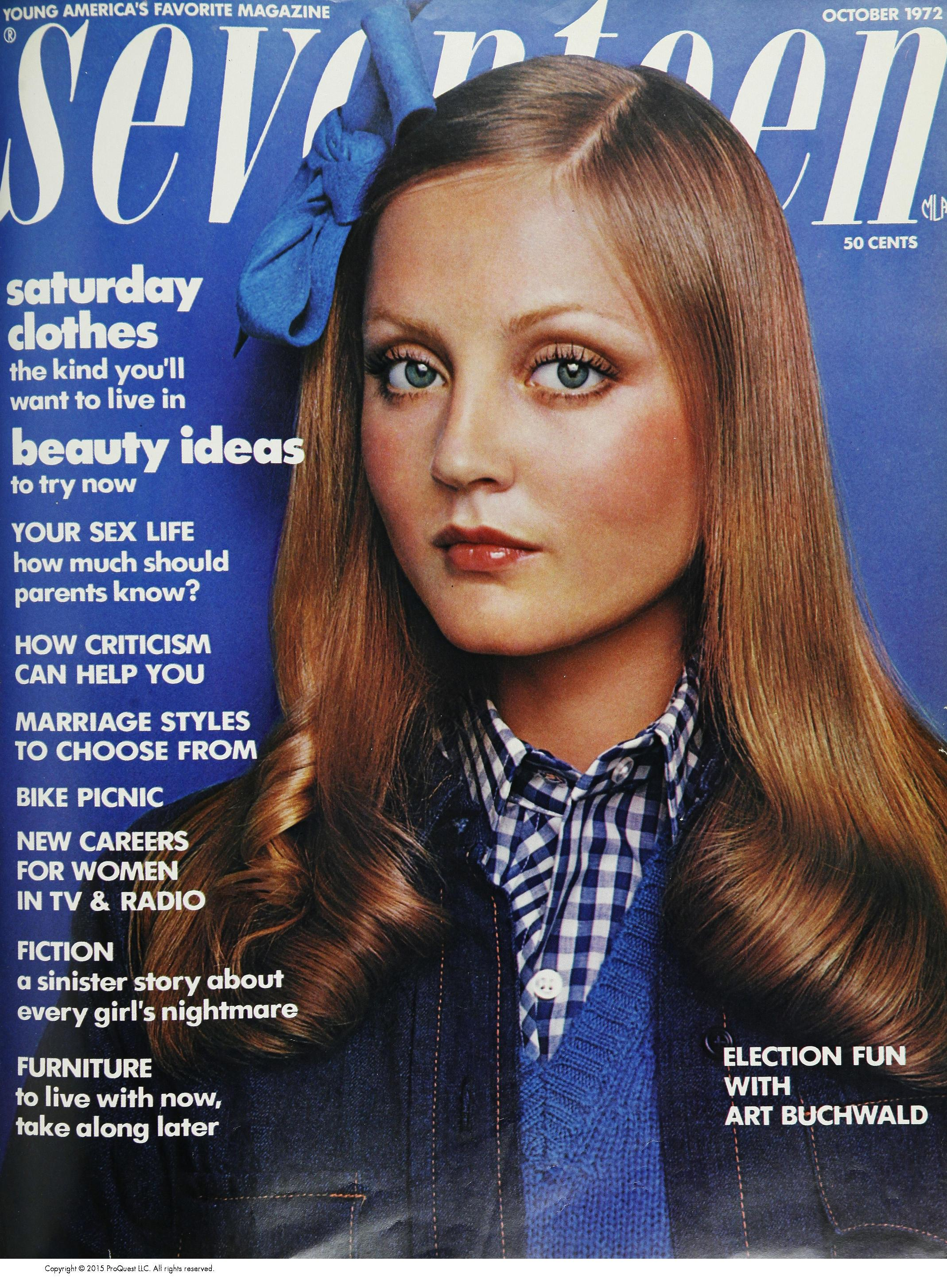 Ingrid Boulting on the cover of Seventeen, October 1972. Photographed by Carmen Schiavone.