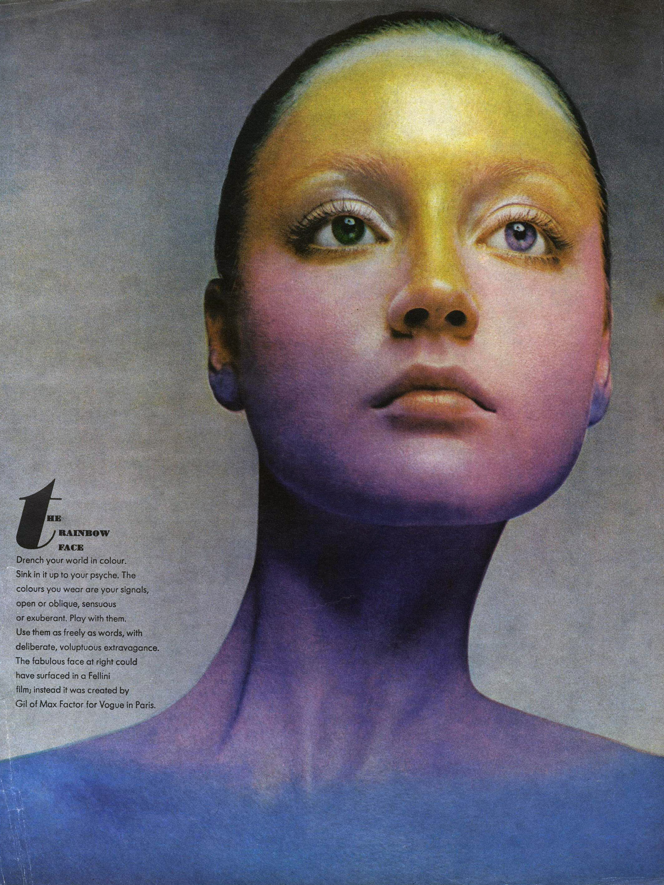 """""""The Rainbow Face"""" photographed by Richard Avedon for Vogue, November 1970."""