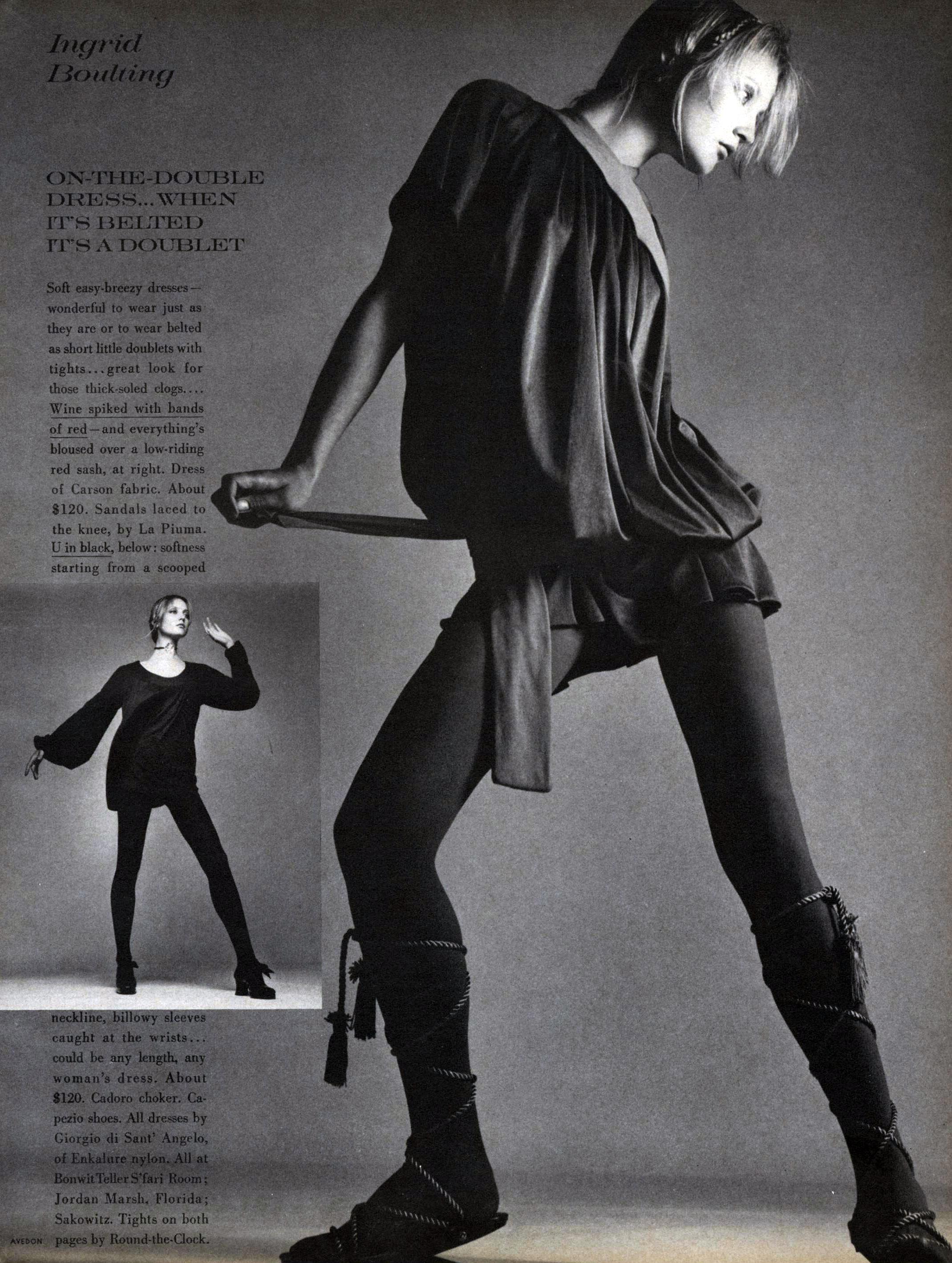 Dancerlike Ingrid photographed by Richard Avedon for Vogue, October 15th, 1969.