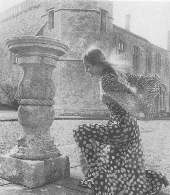 """""""Summer at Source"""" by Norman Parkinson for Vogue UK, July 1970. Wearing a Celia Birtwell print dress by Ossie Clark."""