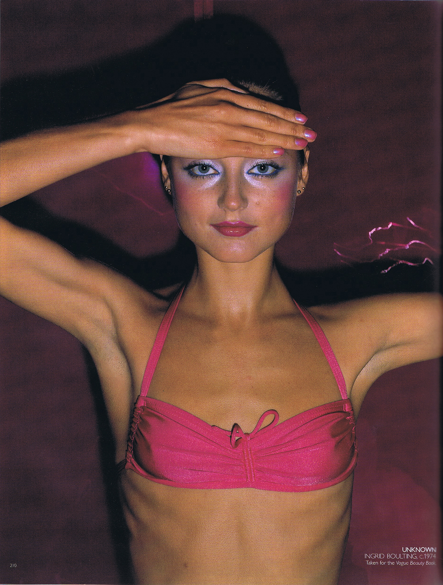An unpolished photograph of Ingrid Boulting taken for Vogue UK, 1974.