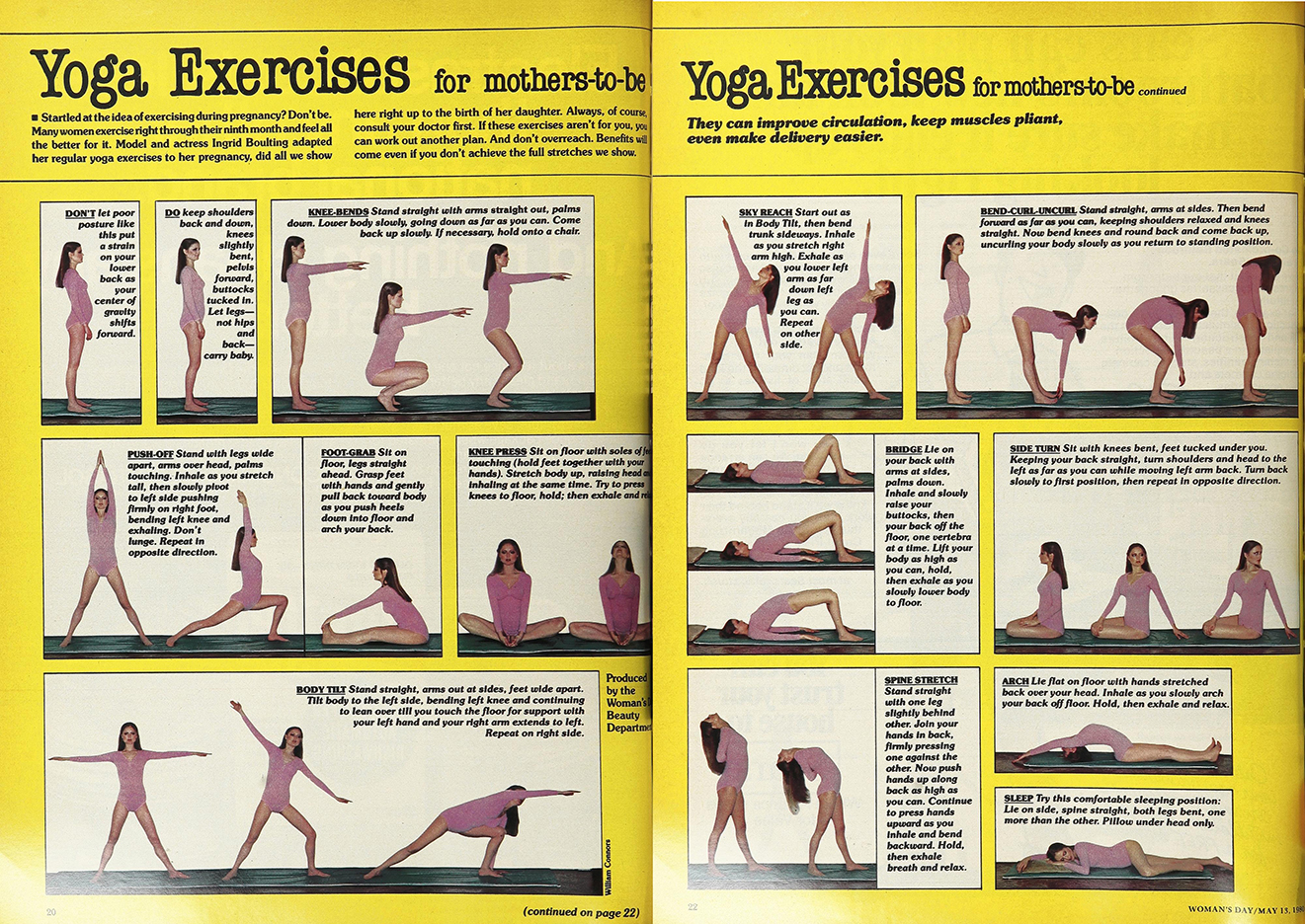 Ingrid's pre-natal yoga routine in Women's Day, May 13th, 1980.