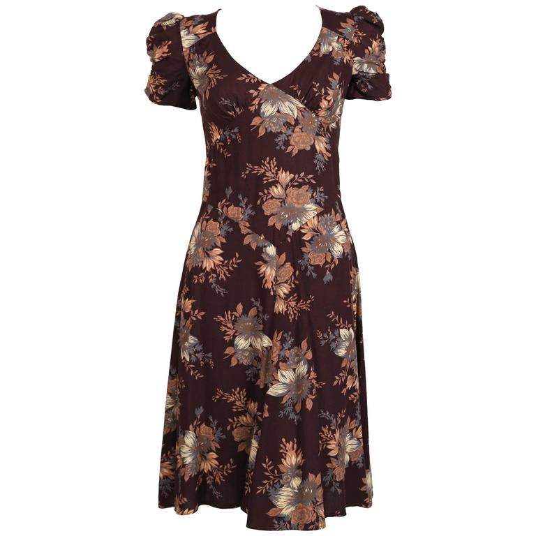 1970's BIBA floral dress with puff sleeves $450
