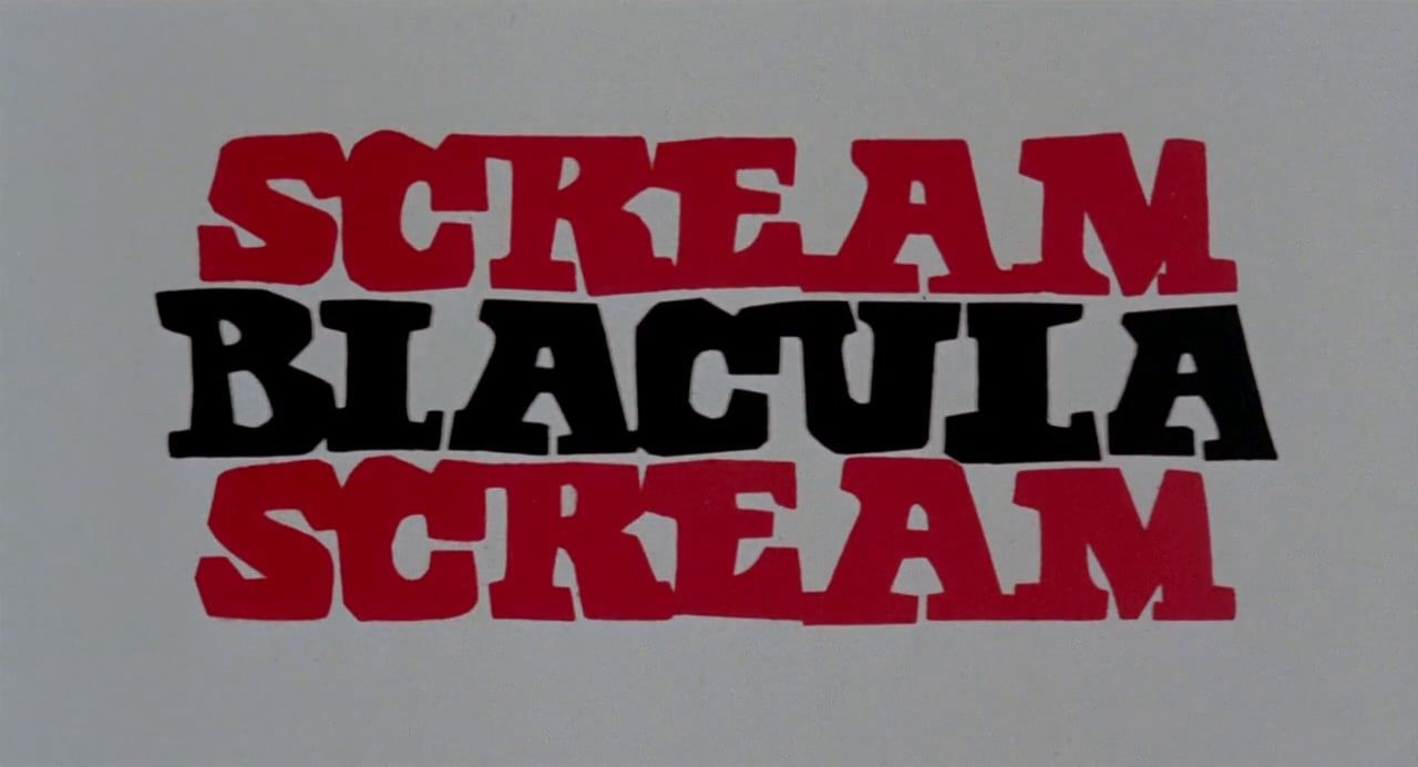 Sandy's hand-lettered text for 'Scream Blacula Scream' (1973).