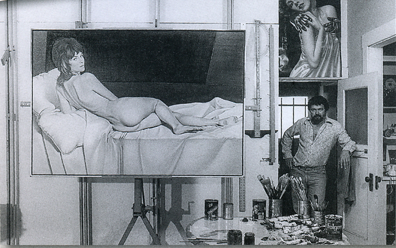 """Mel with """"You Got More Salami with Modigliani"""" in his Oakland studio, 1977."""