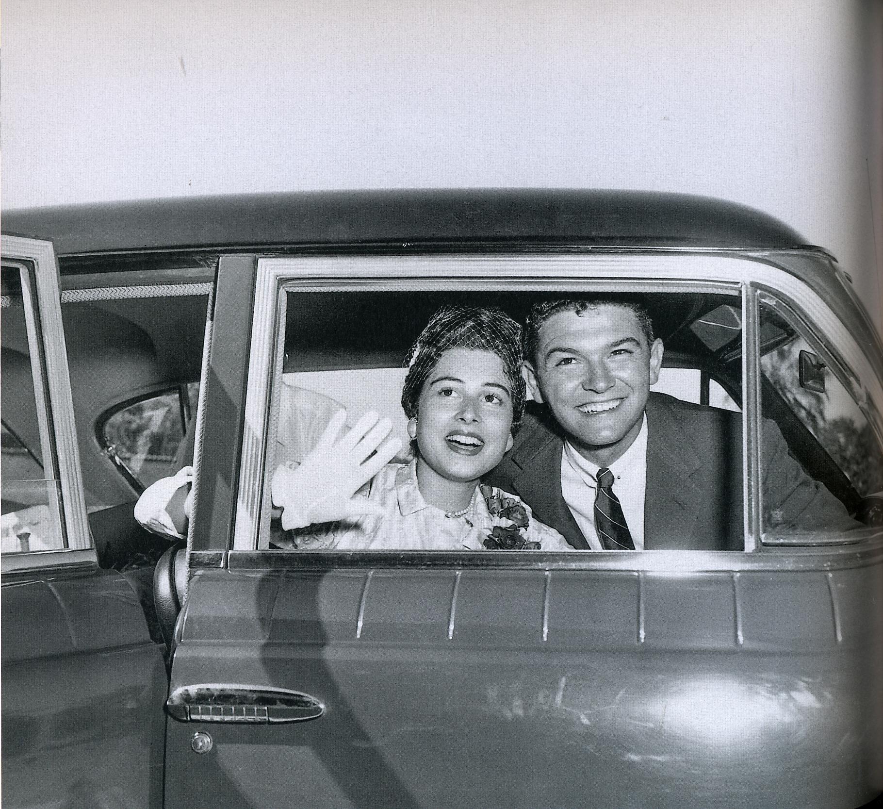 Leta and Mel on their wedding day, 1955.