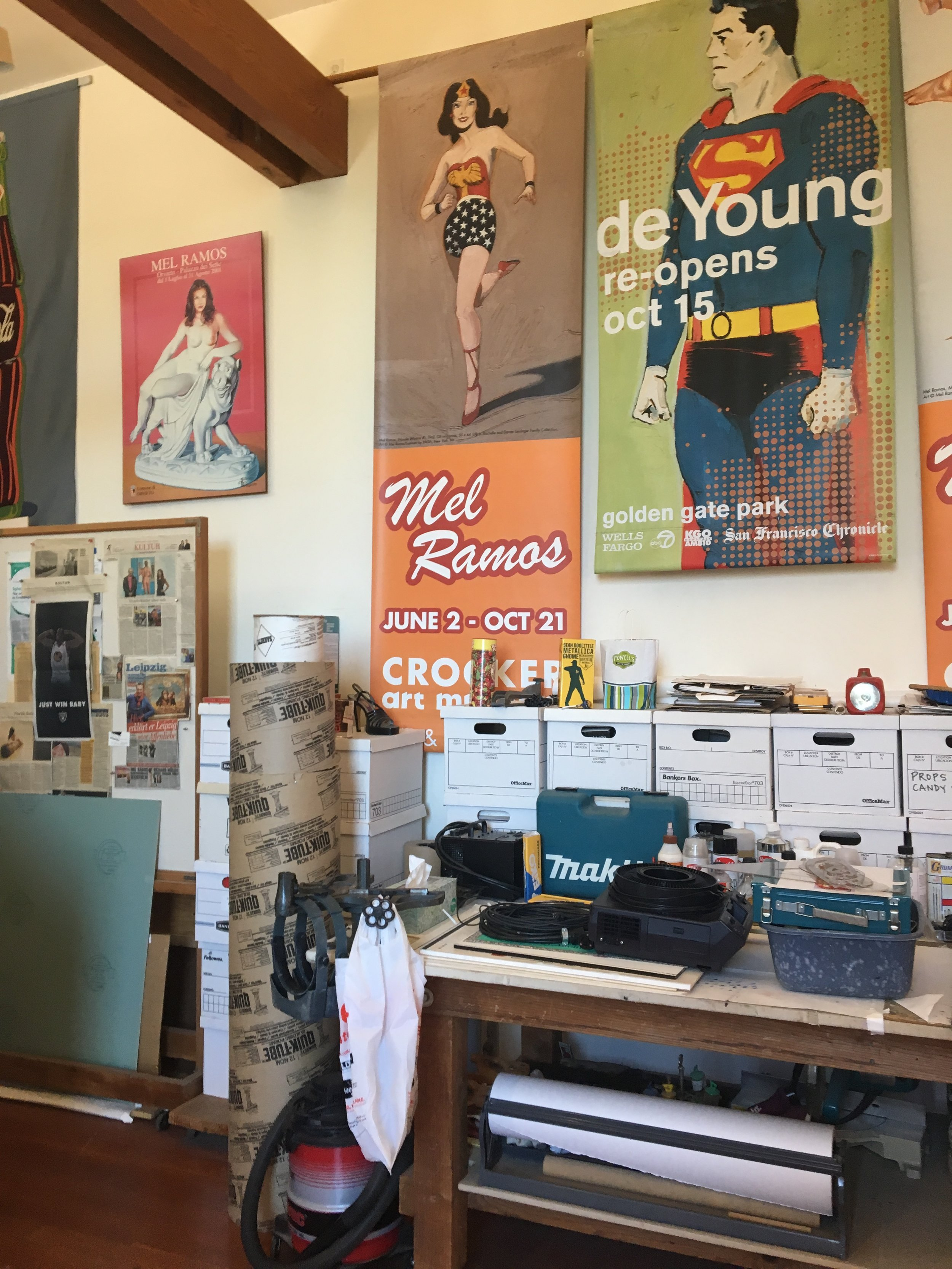 Inside Mel Ramos' Oakland studio.