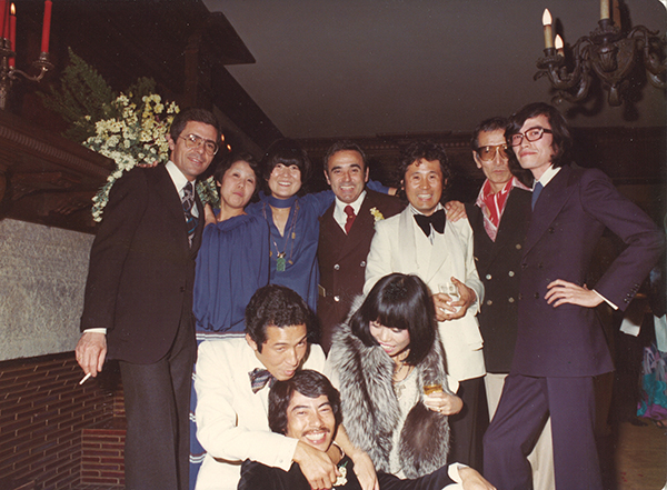 Issey Miyake (in white at the front) with Hiroko Koshino (in fur at front) in the 1970s. Courtesy of Hiroko Koshino.