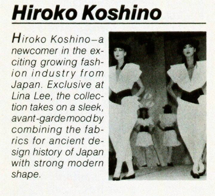 Koshino's clothes were exclusively carried in the US by Lina Lee in Beverly Hills and NYC. Lina Lee ad in Harper's Bazaar, February 1983.