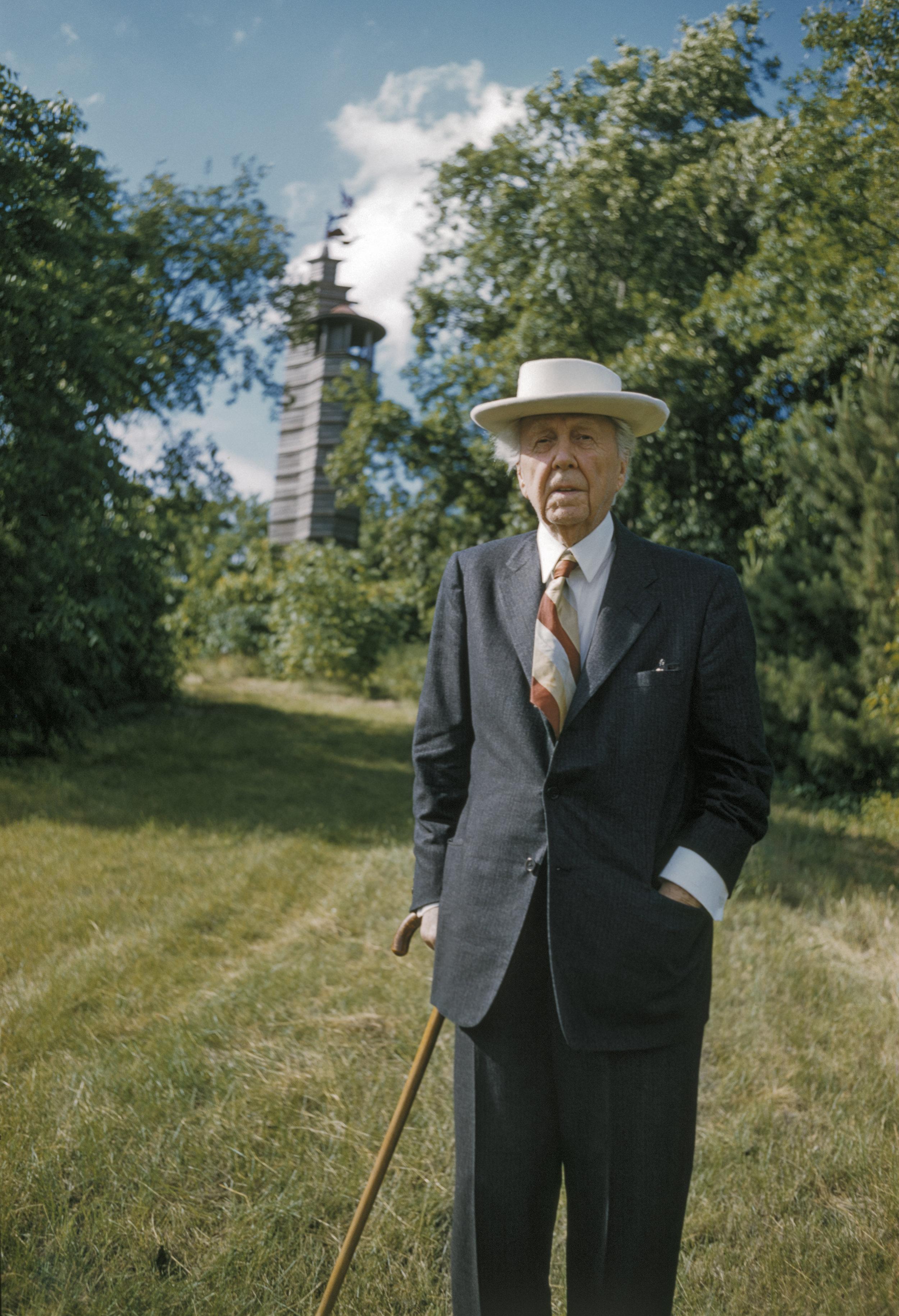 Frank Lloyd Wright Taking a Stroll