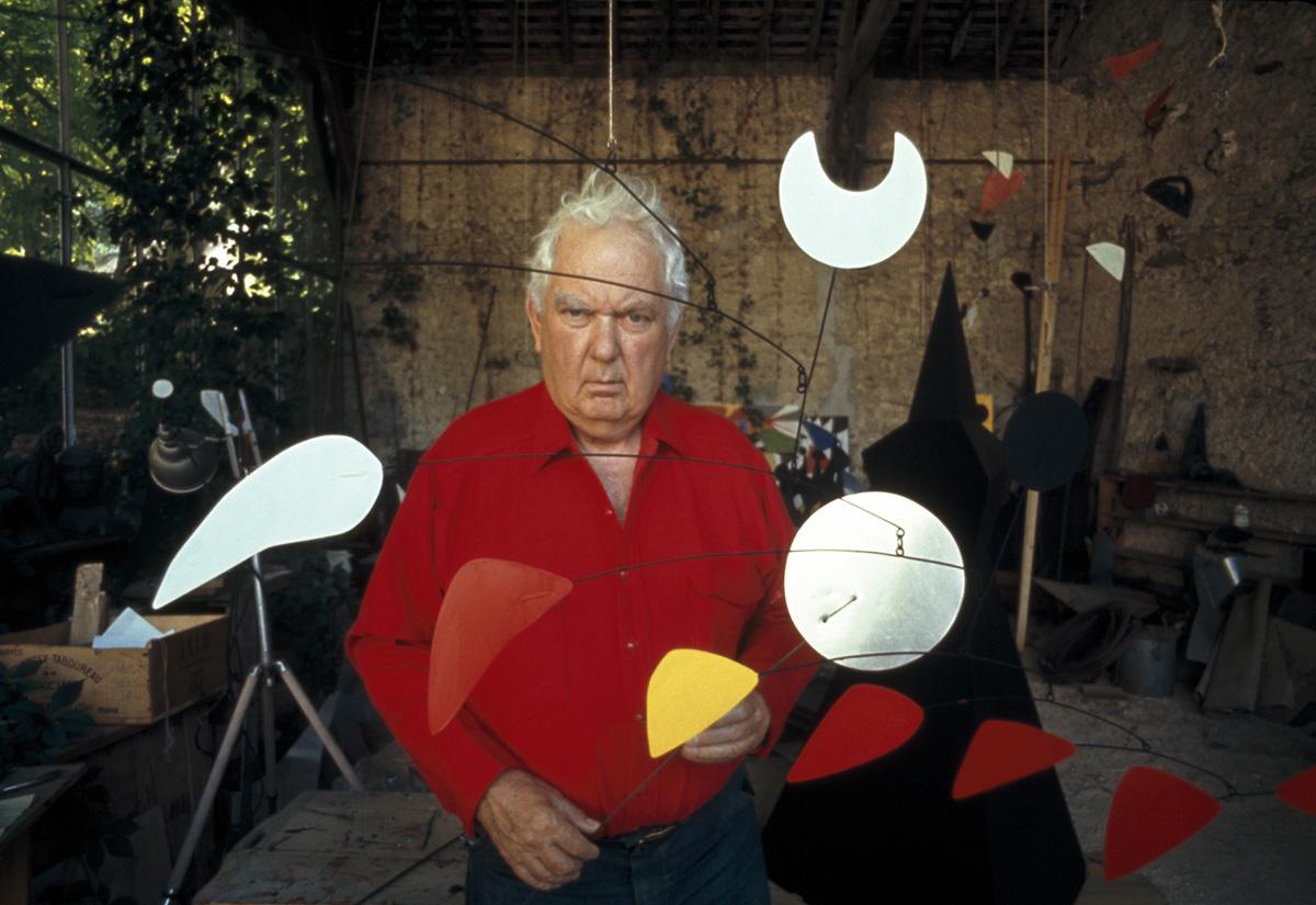 Alexander Calder in his studio in France, 1967