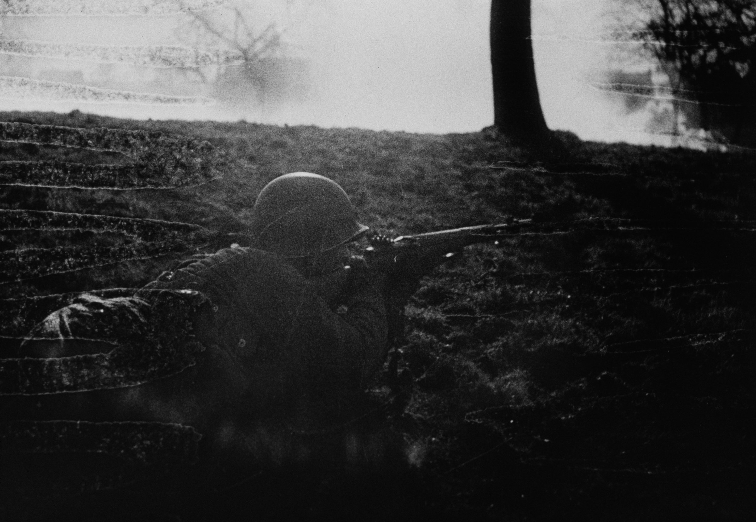 Aim to kill: An American GI lines up a shot during the battle on the Rhineland Valley, March, 1945