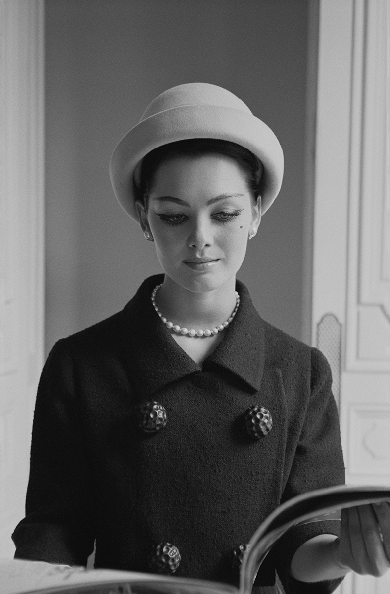 A Givenchy model at the designer's headquarters, shows off the latest in fashion, Paris, France, June, 1960