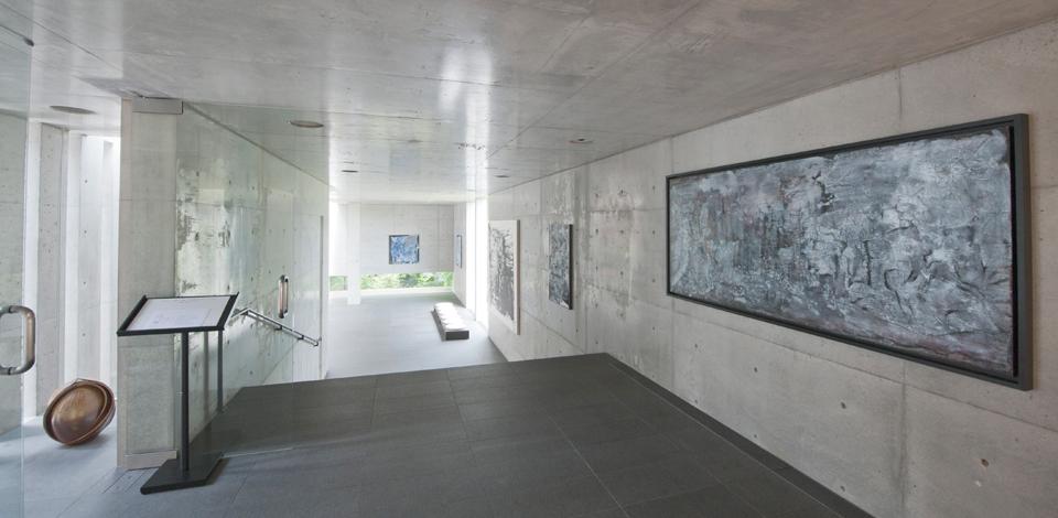 The gallery inside Koshino's former home, designed by Tadao Ando. -
