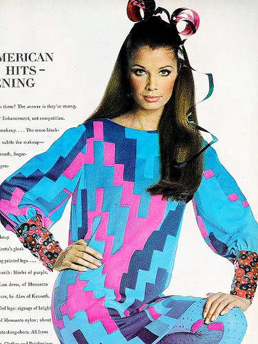 Gloria Friedrich in brightly colored shift with spangled cuffs by Oscar De La Renta, photo by Penn, Vogue US Sept. 1967.jpg