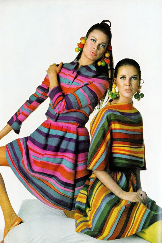 Editha Dussler and Birgitta af Klercker in multicolored striped wool suits by Scaasi, photo by Gianni Penati, Vogue, April 1967.JPG