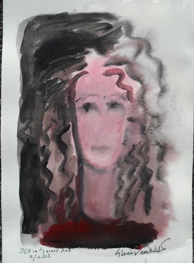 'Joyce Carol Oates in Garnet Red' by Gloria Vanderbilt.