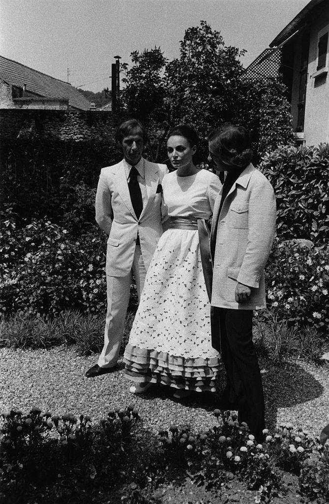 vogue_oct 15 1969_Designer, Marc Bohan stands with the bride Diane von Furstenberg and Philippe Guibourge at the von Furstenberg wedding. (Photo by Jack Nisberg.jpg