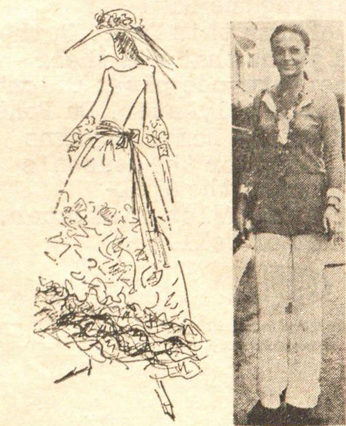 Marc bohan's sketch FOR DIANE HALFIN'S WEDDING DRESS.