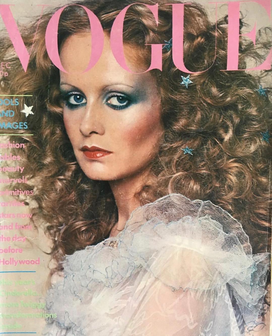 Twiggy shot by Barry Lategan for Vogue, Dec. 1974; wearing Zandra Rhodes, makeup by Barbara Daly. .jpg