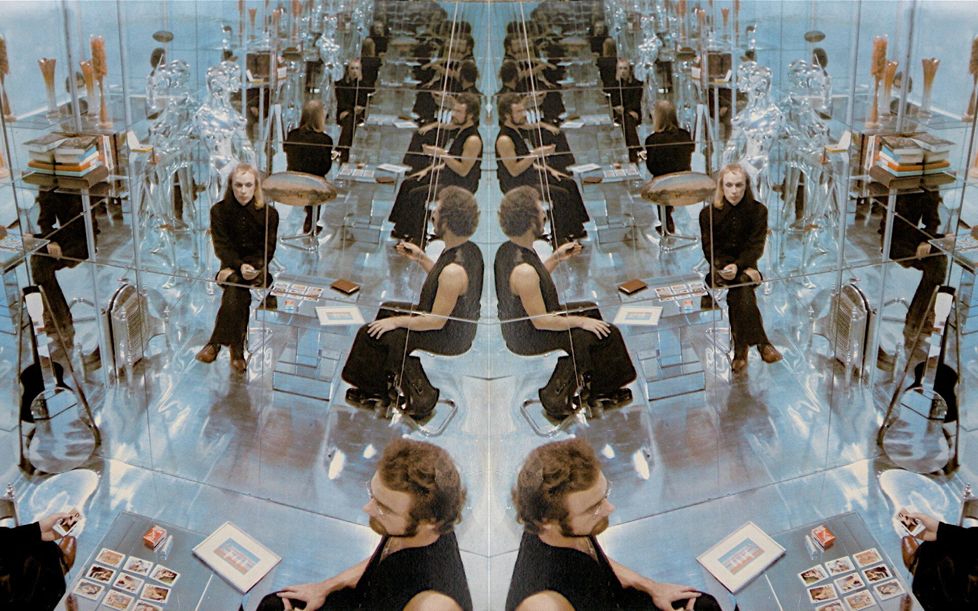 The inside gatefold cover of  (no pussyfooting),  1973.