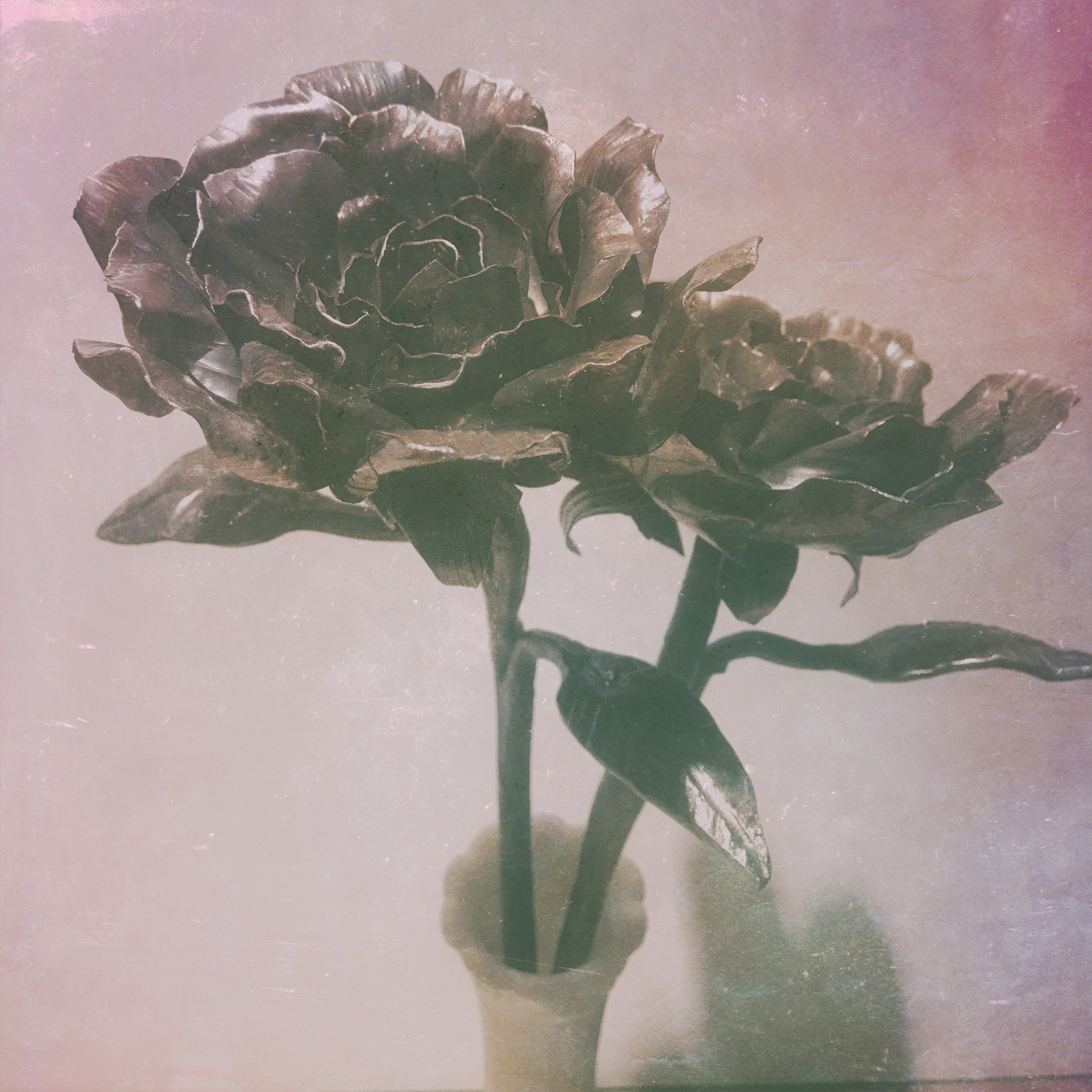 Hand Forged Roses - Forge welded leaves.JPG
