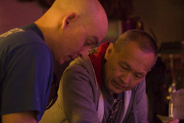 "At work with director Wayne Wang on the set of ""The Princess of Nebraska"""