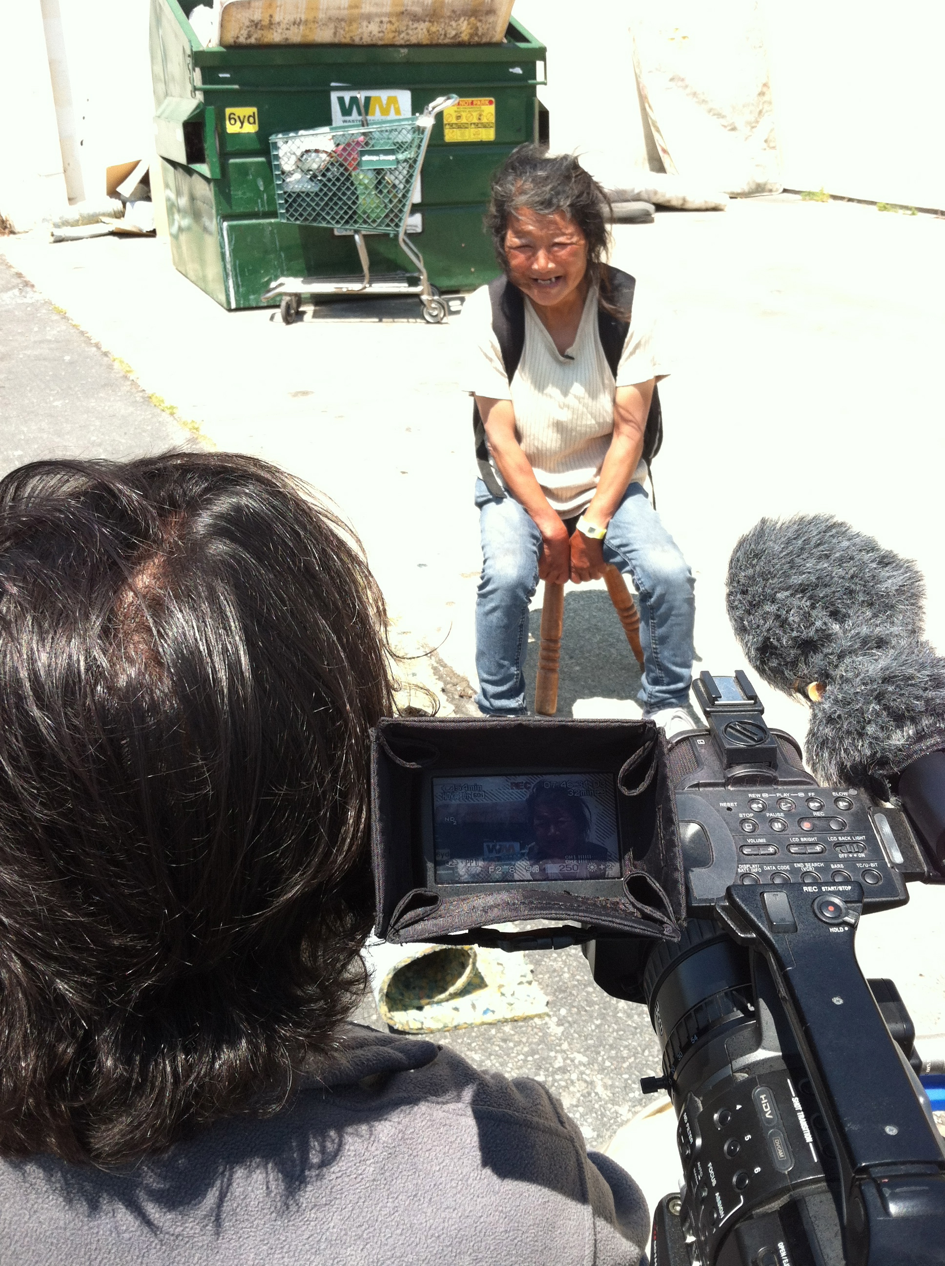 Interviewing homeless recycler Hayok Kay for DOGTOWN REDEMPTION with Co-Director Amir Soltani