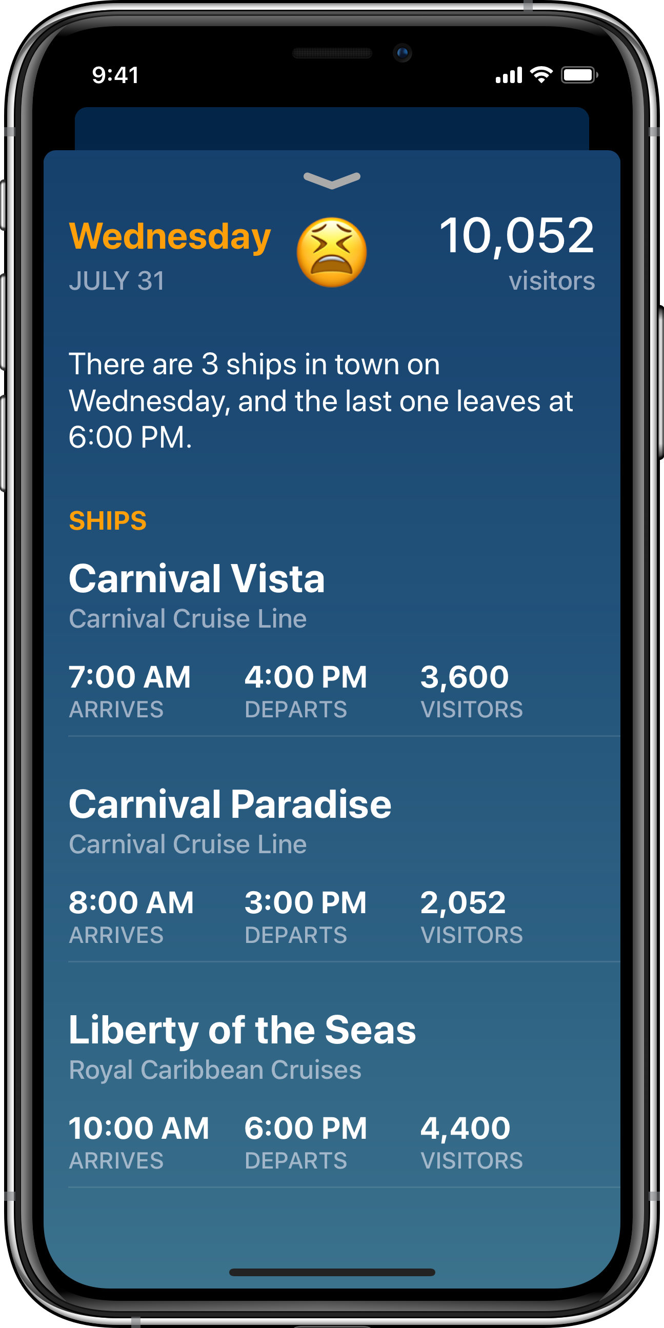 See more details about what ships are in town on a specific day.
