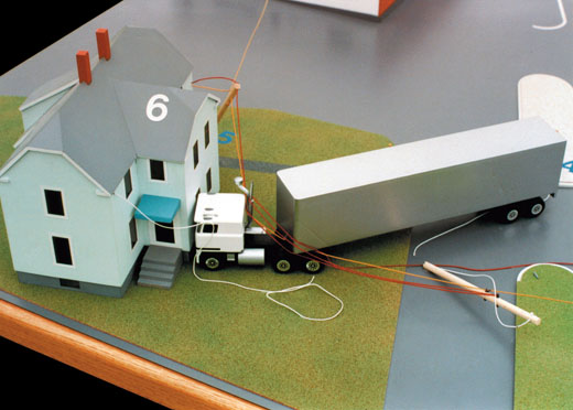Scale model in the post-accident configuration