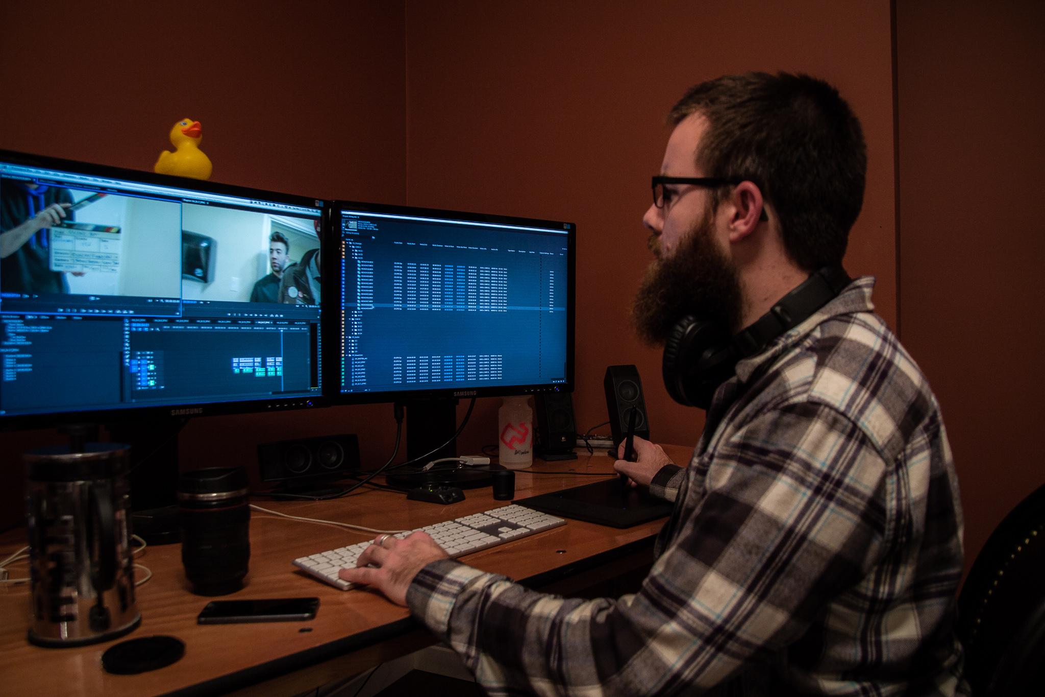 Nick Montgomery of Merc Media editing on set