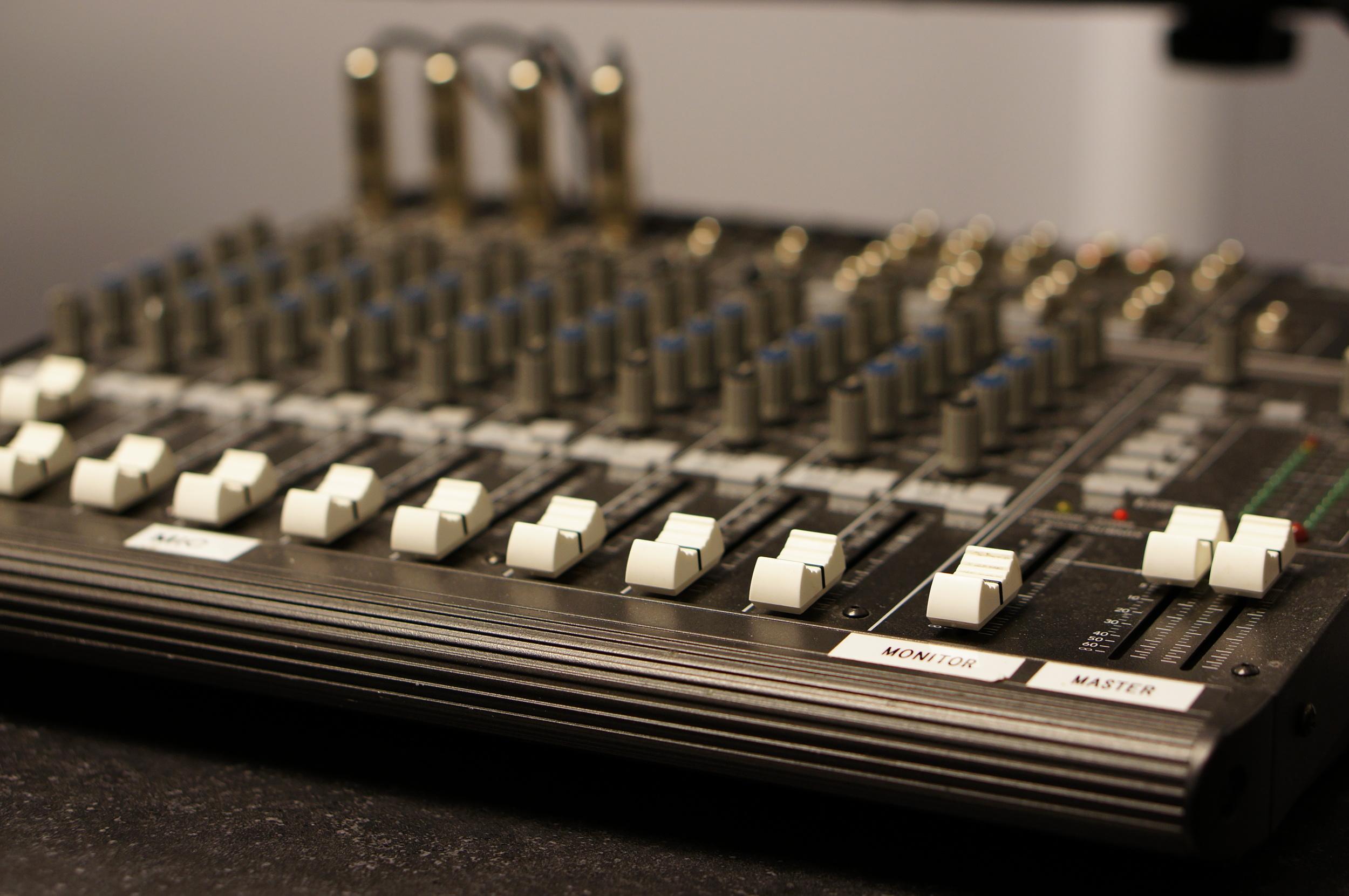 Mixing board close up