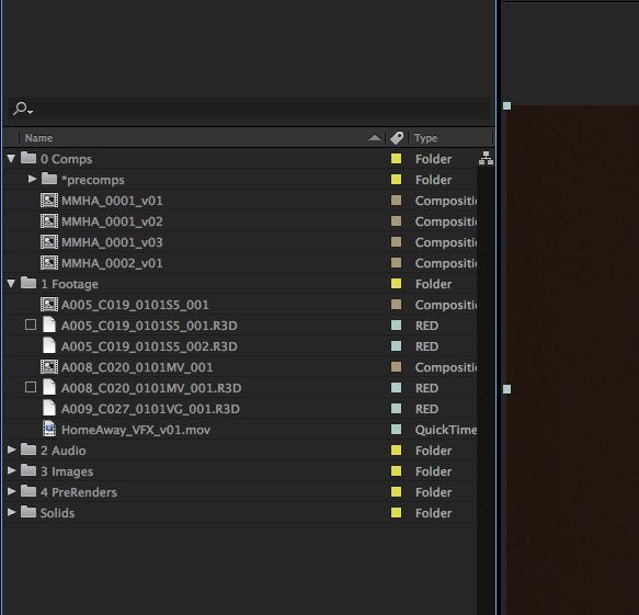 After Effects folder bin structure