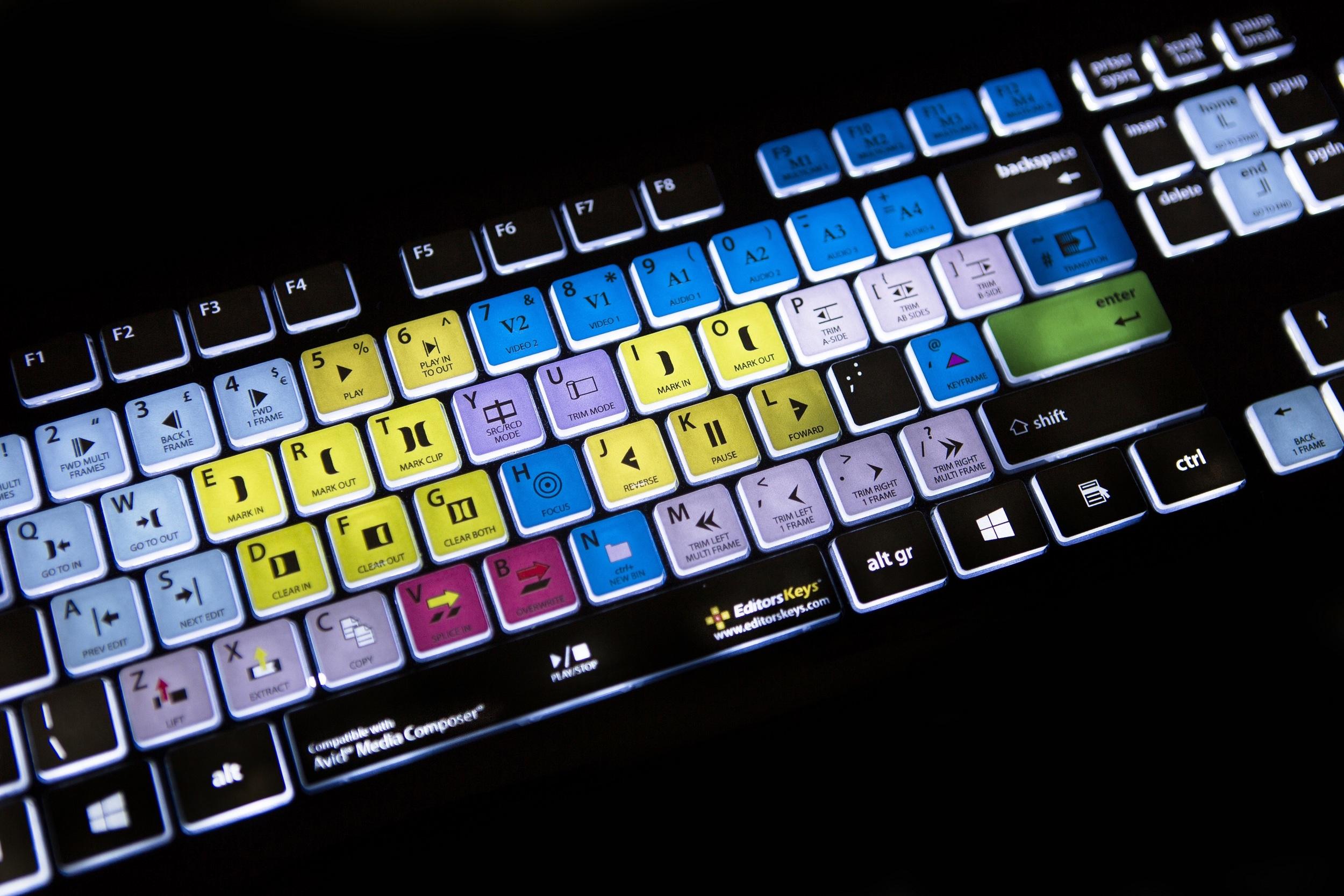 Backlit keyboard for Avid Media Composer from EditorsKeys