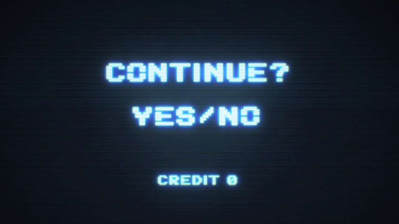 Video game continue screen