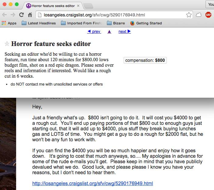 Craigslist ad for feature film editor underpaid