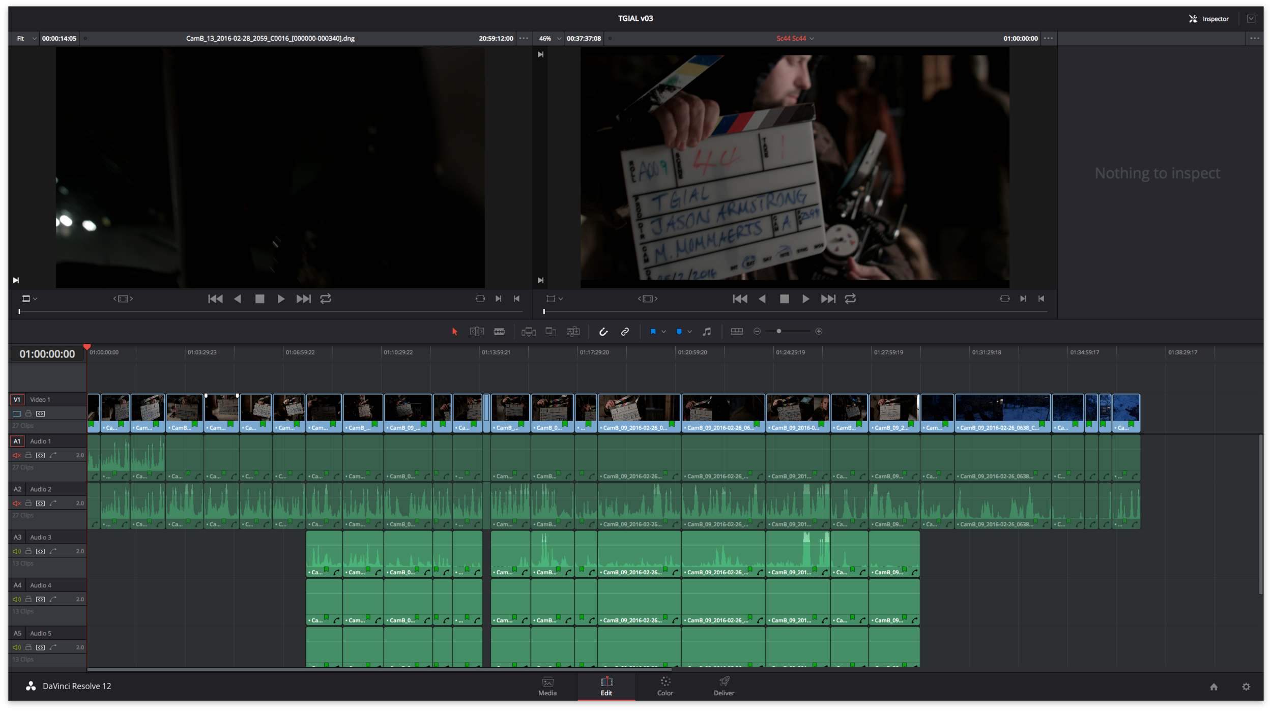 Timeline of horror feature The Ghost is a Lie in Davinci Resolve 12