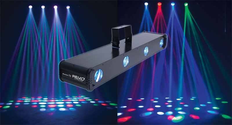 This REVO light creates patterns that change with the music. The lights are best on the floor or the ceiling above the dance floor.