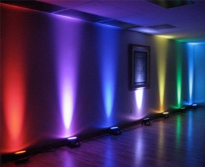 Up-lighting highlights certain area of the room and can be solid color or changing color.