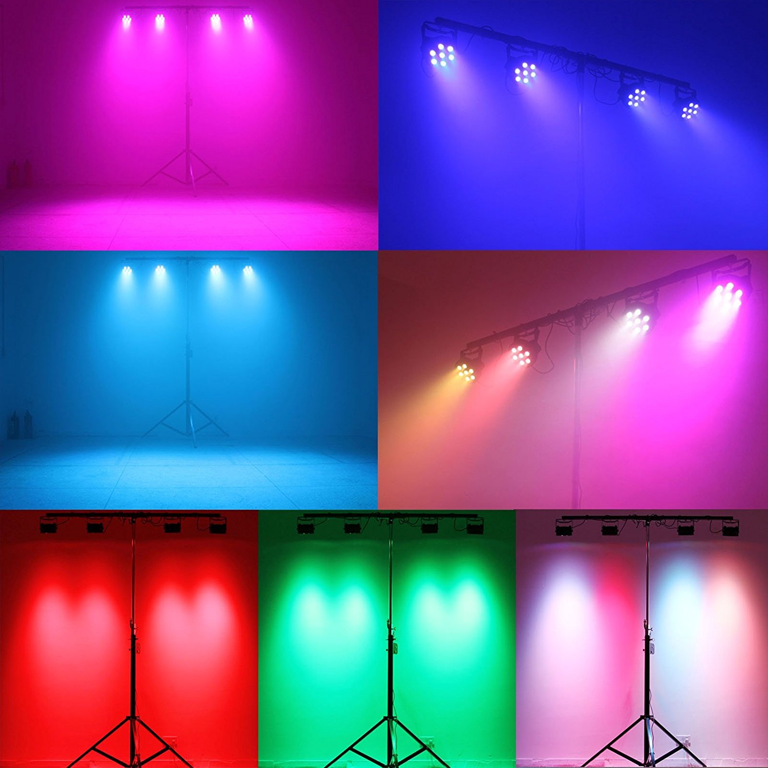 These Par lights pointed on the dance floor can create a soft energy in the room and highlight the dance floor.