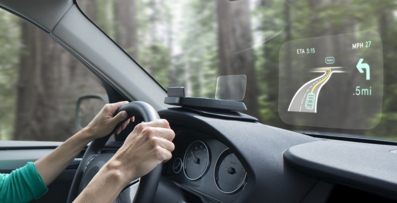 Navdy is putting a HUD for navigation (among other things) while driving.