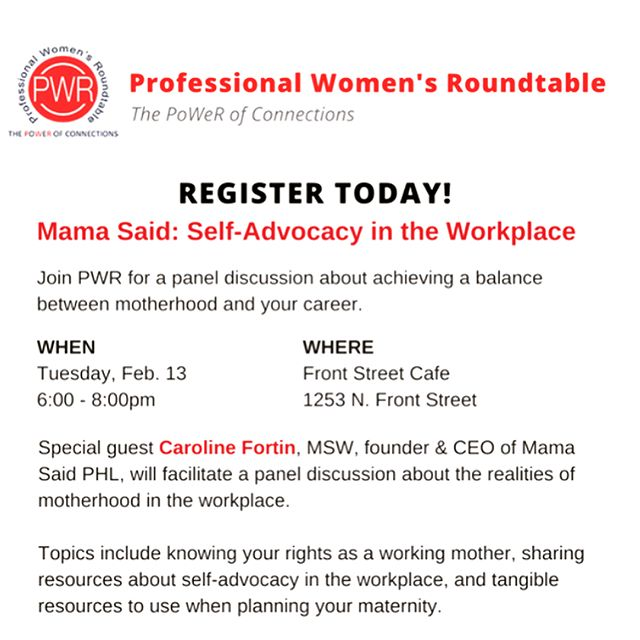 Mama Said is partnering with @pwrphilly to facilitate a panel discussion about the realities of motherhood in the workplace! Scroll through to meet our amazing panelists! Join us for thoughtful, honest conversation, resources, best practices, and networking. Registration link in bio!