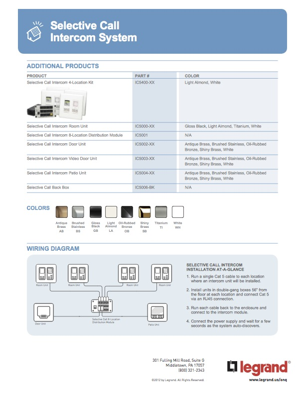 legrand on q product brochure