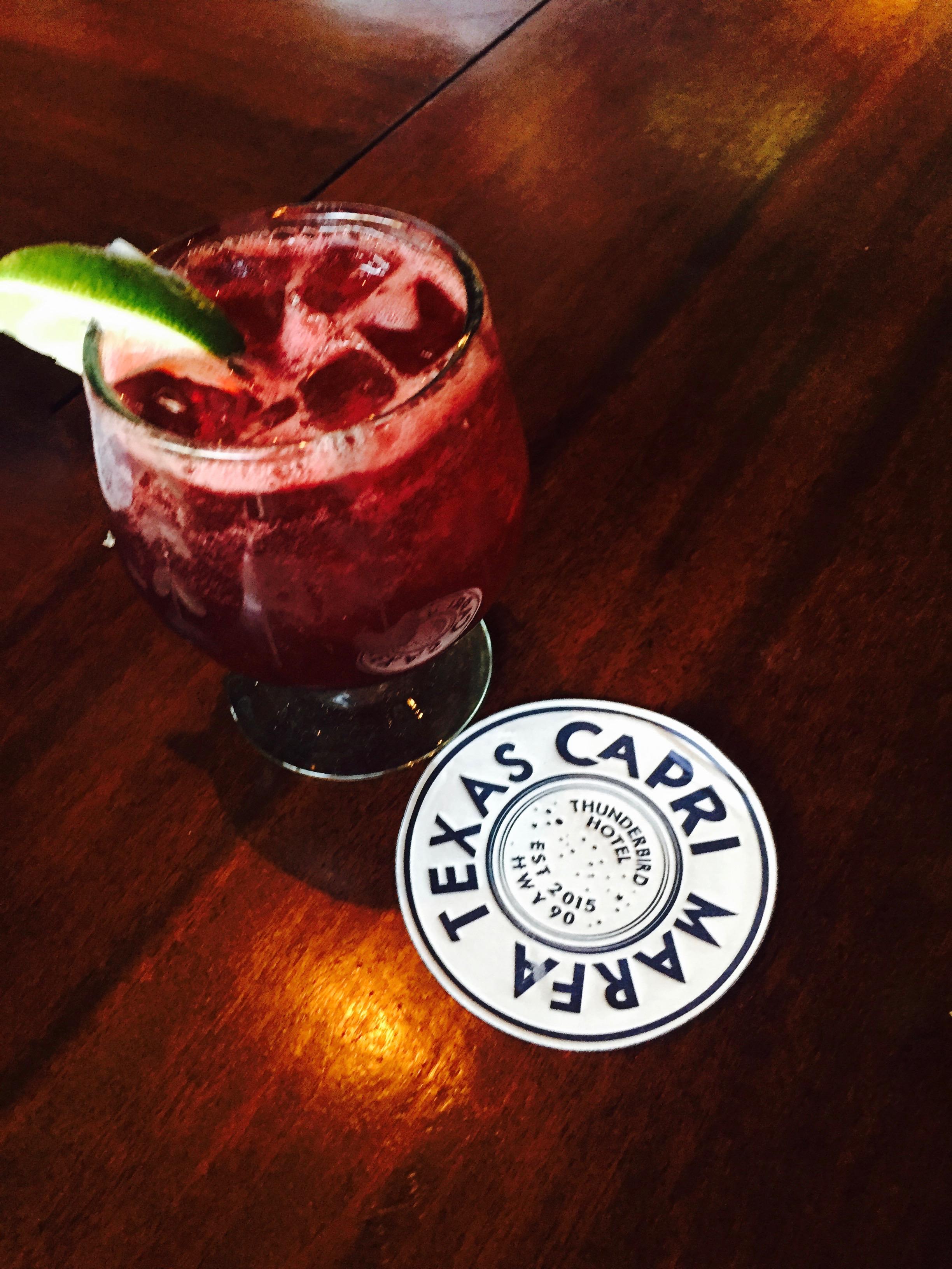 hotel drink at the Thunderbird Hotel, Marfa, Texas - 3 Days*