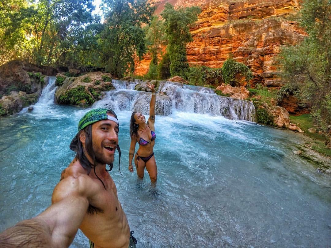 Aaron Medeiros and Juliana Salles in Havasu Falls, Grand Canyon, Arizona, US - 3 Days*